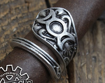 Triple Goddess Ring - Adjustable - Wrap Style - Handcrafted by Doctor Gus - Beautiful Antique Inspired Ring