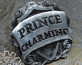 Prince Charming Badge - RPG Character Class Pin - Handcrafted Pewter Accessories by Doctor Gus - SCA LARP Roleplaying Enamel Pin Badge