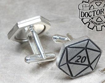 Natural Twenty Cufflinks - D20 Cuff Links - Gamer Wedding Gifts by Doctor Gus - Suit and Tie - Dungeons - Geek Groomsmen - Dragons - Dice