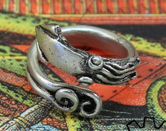 Squid Ring - Octopus Ring - Tentacle Ring - Adjustable - Steampunk Kink Goth Cthulhu Cephalopod Midi Doctor Gus Handcrafted Artisan Pewter
