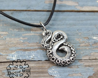 Tentacle Pendant - Handmade Artisan Pewter - Octopus Squid Tentacle Necklace - Cthulhu Inspired Steampunk Cephalopod Men's Jewelry Doctorgus