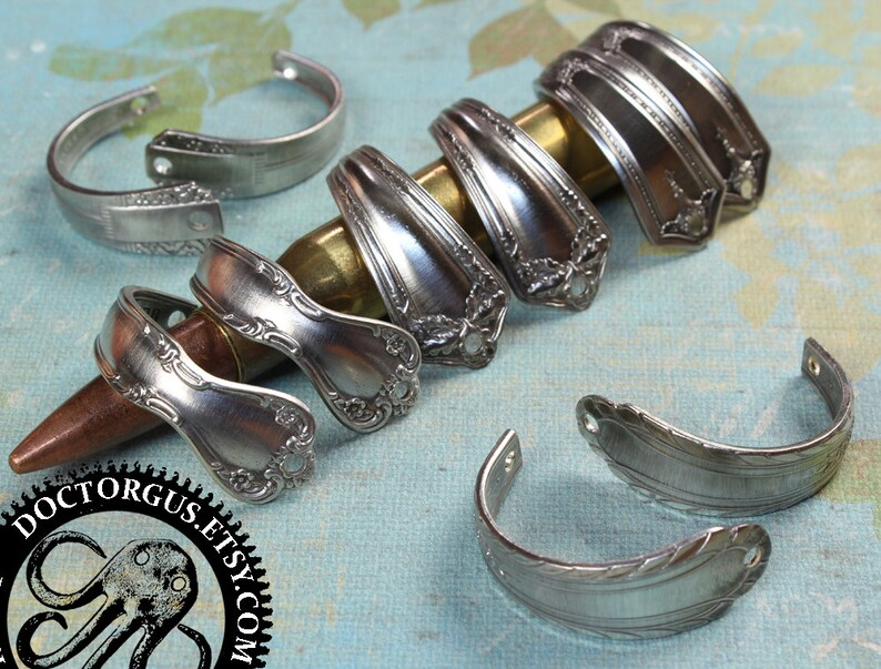 Curved Spoon Handle Bracelet Parts Matched Pairs Antique Etsy