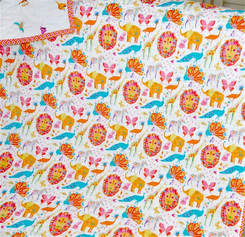 Animal Quilt Geometric Origami Shapes Jungle Animals MADE TO ORDER Origami Oasis Modern Baby Quilt Baby Girl Blanket,Toddler Blanket