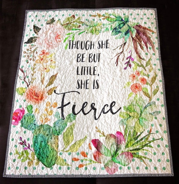 she is fierce cactus floral, succulent baby quilt crib quilt floral cactuses Though she be but little cacti peach