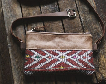 Fanny Pack. Boho Bag. Leather Belt Bag. Leather Bum Bag. Leather Hip Bag. Leather Waist Bag. Kilim Bag. Carpet Bag. Hippie Bag.