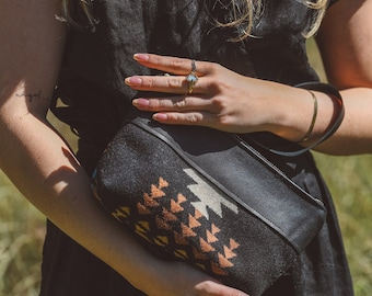 Black Leather Zip Pouch made with Pendleton® wool, Leather Wristlet Pouch, Cosmetics Pouch, Organizer Pouch,