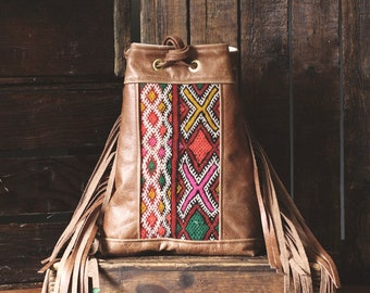 Leather Fringe Crossbody. Festival Bag. Leather Fringe Bag. Boho Bag.  Moroccan Bag. Kilim Bag. Ready to Ship. Gypsy Boho Bag.