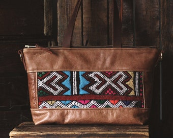 Leather Crossbody. Leather Shoulder Bag.  Boho Bag. Everyday Bag. Moroccan Bag. Kilim Bag. Ready to Ship. Gypsy Boho Bag.