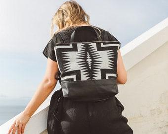 Black Leather Backpack made with Pendleton wool, Backpack diaper bag, Women's Backpack, Laptop Backpack, Boho Backpack