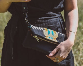 Black Leather Mini Crossbody made with Pendleton® wool, Small Crossbody Bag, Mini Leather Crossbody