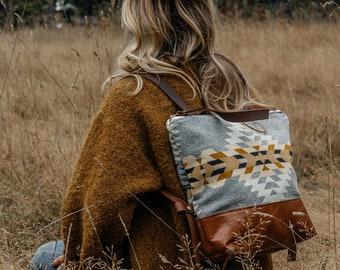 Leather Backpack made with Pendleton® wool, Backpack Diaper Bag, Women's Backpack, Laptop Backpack, Stylish Laptop Bag, Boho Backpack