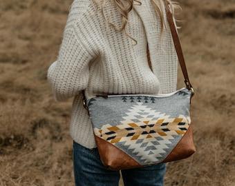 Women's Brown Leather Crossbody Bag made with Pendleton® wool,  Boho Bag, Slouchy Bag, Hipster Crossbody, Ethnic Bag, Southwestern Bag