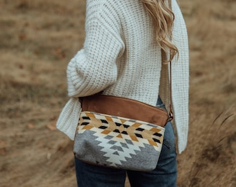 Waxed Canvas Crossbody made with Pendleton® wool, Everyday Bag, Small Canvas Crossbody, Lightweight Crossbody, Tan Canvas Crossbody