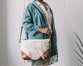 Women's Canvas and Lather Bag, Mudcloth Bag, Small Crossbody, Everyday Bag, Boho Bag, Slouchy Bag, Hipster Crossbody, Ethnic Bag, Canvas Bag