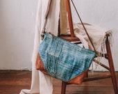 Women's Crossbody Bag, Mudcloth Bag, Small Crossbody, Everyday Bag, Boho Bag, Slouchy Bag, Hipster Crossbody, Ethnic Bag, Indigo Bag, Boro
