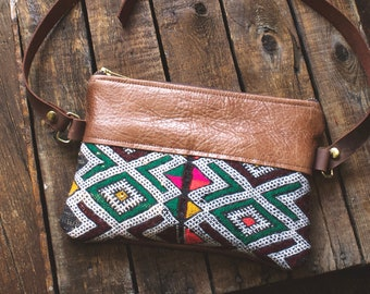 Leather Hip Bag. Hippie Bag. Kilim Bag. Leather Bum Bag. Leather Belt Bag. Festival Fanny Pack.Boho Bag. Leather Waist Bag. Carpet Bag