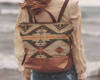 Boho Backpack,  Stylish Laptop Bag, Backpack Diaper Bag, Hipster Backpack, Laptop Backpack, Leather Backpack, Everyday Bag, Women's Backpack