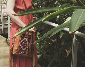 Leather Fringe Bag. Boho Bag. Leather Fringe Crossbody.  Moroccan Bag. Kilim Bag. Ready to Ship. Festival Bag. Gypsy Boho Bag.