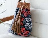 Boho Bag, Drawstring Leather Bag, Women's Crossbody Bag, Everyday Bag, Tassel Bag, Boho Crossbody, Ethnic Bag, Ikat Purse, Shibori