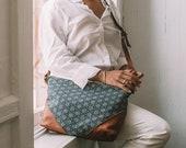 Women's Crossbody Bag, Small Crossbody, Everyday Bag, Boho Bag, Slouchy Bag, Hipster Crossbody, Ethnic Bag, Navy Purse, Mudcloth Bag