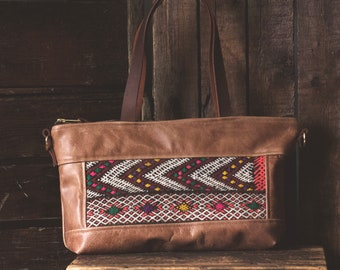Leather Shoulder Bag. Leather Crossbody. Boho Bag. Everyday Bag. Moroccan Bag. Kilim Bag. Ready to Ship. Gypsy Boho Bag.
