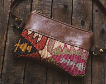 Leather Belt Bag. Festival Fanny Pack. Leather Bum Bag. Leather Hip Bag. Boho Bag. Leather Waist Bag. Kilim Bag. Carpet Bag. Hippie Bag.