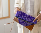 Statement Clutch, Boho Clutch, Brown Leather Clutch, Oversized Clutch, Shibori Bag, Boho Bag, Japanese Print Bag.