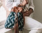 Women's Crossbody Bag, Boho Bag, Drawstring Leather Bag, Everyday Bag, Tassel Bag, Boho Crossbody, Ethnic Bag, Navy Purse, Ikat Purse