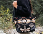 Women's Black Leather Crossbody Bag, Medium Crossbody, Everyday Bag, Boho Bag, Slouchy Bag, Hipster Crossbody, Ethnic Bag, Southwestern Bag