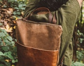 Women's Waxed Canvas Bag, Canvas Backpack, Tan Leather Backpack, Stylish Diaper Bag. Hipster Backpack, Canvas and Leather Bag, Utility Bag