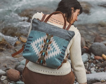 Women's Waxed Canvas Backpack made with Pendleton® wool, Canvas Bag,  Stylish Diaper Bag. Hipster Backpack, Canvas and Leather Bag