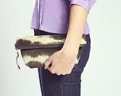Suede Pouch. Boho Clutch. Luxury Cosmetic Bag. Organizer Pouch. Army Green Bag. Charcoal Tie Dye.