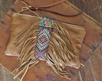 SALE Boho Leather Fringe Clutch. Tribal Print Leather Clutch. Kilim Clutch Bag. Boho Chic Bag.