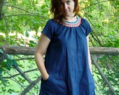 smock tunic or dress with crochet yoke and short sleeves -- made to order