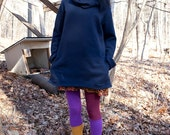cozy fleece cowlneck sweatshirt tunic with pockets -- made to order