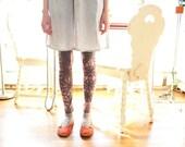 printed leggings, hand-stenciled doily print custom leggings -- made to order