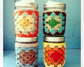 crochet jar cozy + Cuppow set (assorted colors, ready to SHIP!)