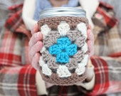 crochet jar cozy + Cuppow set (custom made to order in your colors)