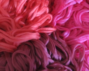 SALE Superwash Pencil Roving 4 Ounces  Coral, pink, Dusty Rose