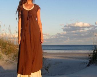 ORGANIC Drawstring Collar Simplicity Long Dress ( light hemp and organic cotton knit ) - organic dress