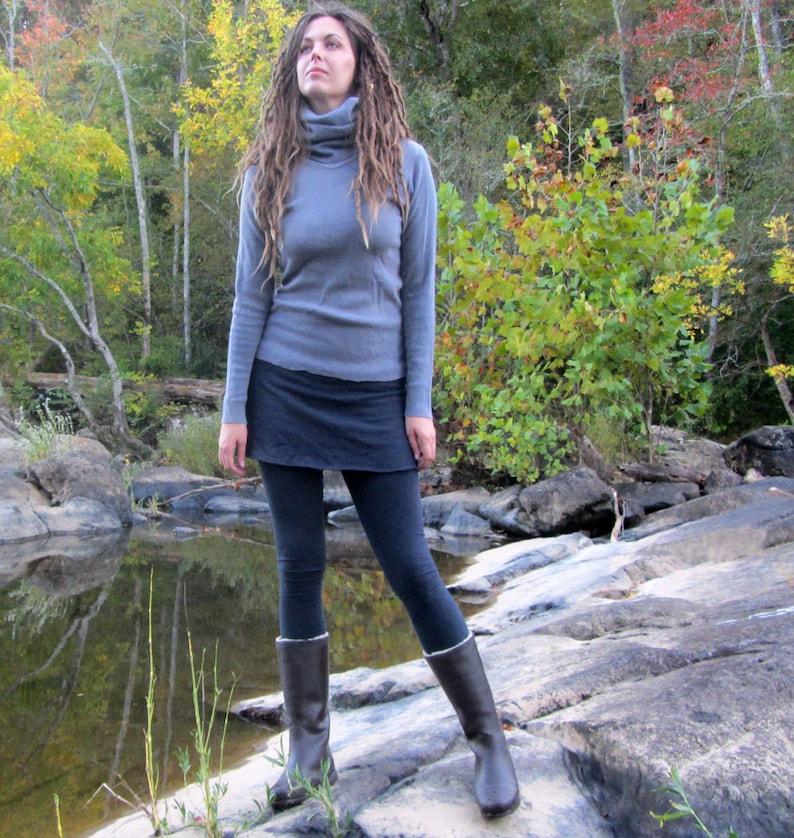 organic hemp leggings hemp and organic cotton Fleece Organic Simplicity Mini Skirted Fleece Legging