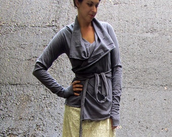 ORGANIC Cocoon Belted Jacket ( NC grown organic cotton knit ) - organic jacket
