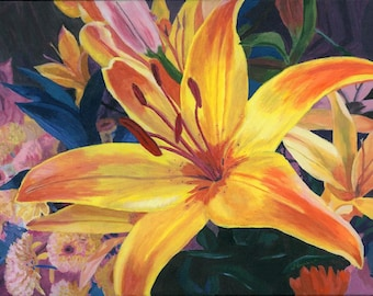 Yellow Lily metal print 11x14 Floral painting close up