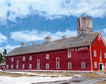 Anken's Barn landscape Farm winter scene Giclee Reproduction 11 x 16