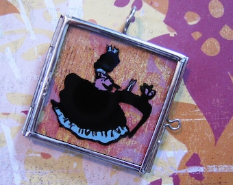 Victorian Girl Playing Piano Reverse Hand Painted Silhouette Pendant