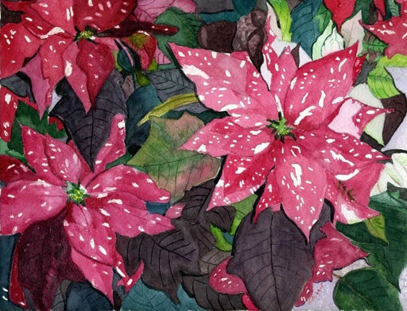 Christmas Poinsettia Plants Watercolor Painting Giclee Etsy