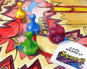 Fun game toy still life Bonkers painting Giclee Reproduction 5 x 7