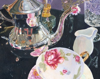 Beautiful Tea silver pot china cup acrylic painting Giclee Reproduction 14 x 11