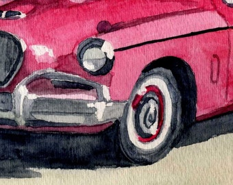 1956 Studebaker Watercolor Fine Art Reproduction Painting 4 X 6