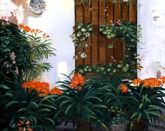 Spanish Courtyard Floral stucco Spain  Giclee Reproduction 12 x 12